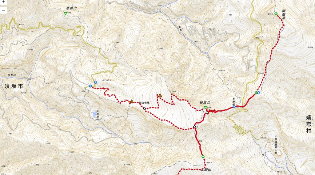 破風岳・土鍋山の登山ルート